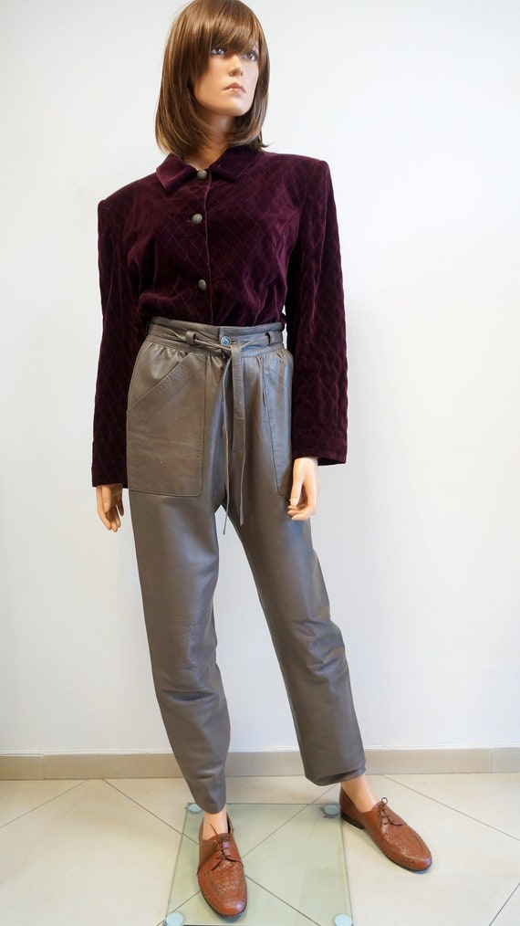 leather trousers, brown pants, vintage leather cow