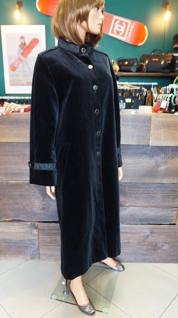 velvet black coat, black gothic velvet cotton coat