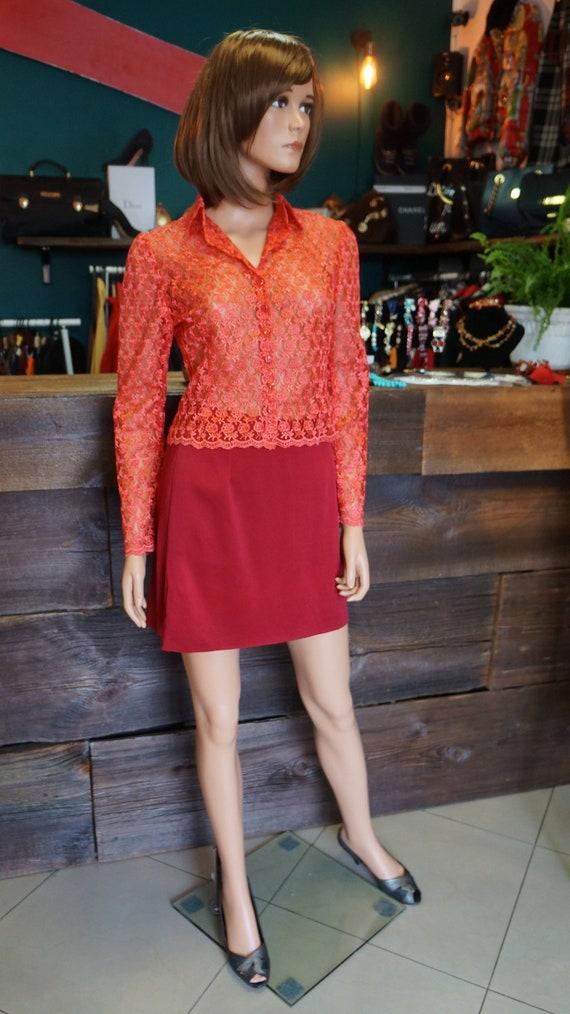 lace red blouse,transparent vintage lace blouse, b