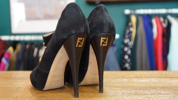 Fendi shoes, suede ankle shoes, Fendi boots, fendi