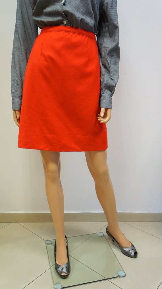 red wool skirt, vintage wool mini red skirt, mini