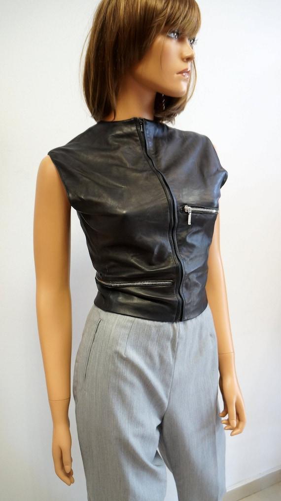 Gianni Versace leather vest,zipper vest, black lea