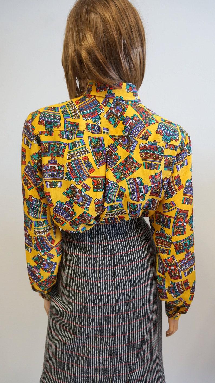 poliester shirt XXL size vintage multicolor shirt blouse yellow shirt