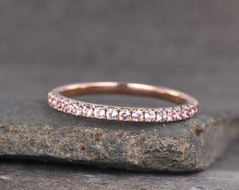Rose Gold Morganite 2mm Full Eternity Stackable Stacking Round Simulated Morganite Wedding Band Ring Solid 925 Sterling Silver