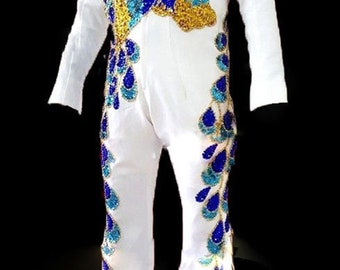 5cedf8eadc7 Da NeeNa Elvis Presley Inspired Singer The King Peacock Belt Jumpsuit  Costume