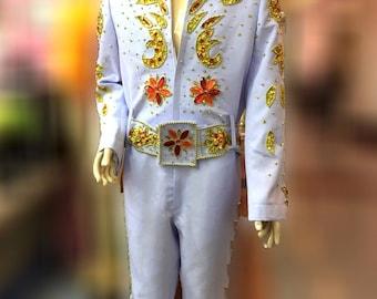 1b787f887c18 Da NeeNa Elvis Presley Inspired Singer The King Nature Belt Jumpsuit Costume