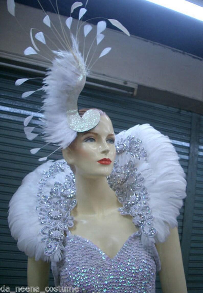 SILVER CABARET DRAG QUEEN LEOTARD WING Headdress DRESS
