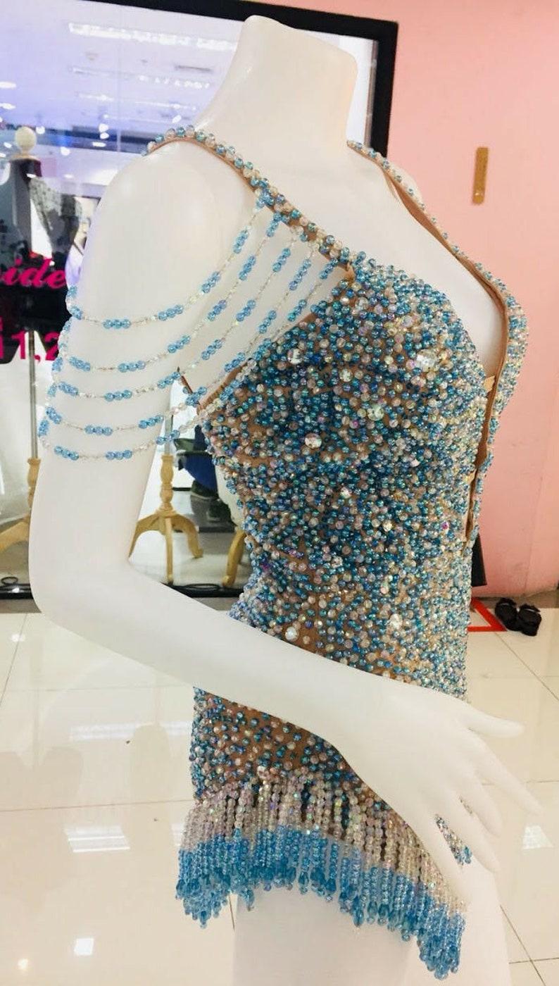 Da Neena M802 Perfect Slender Princess Latin Samba Dance Crystal Leotard XS-XL