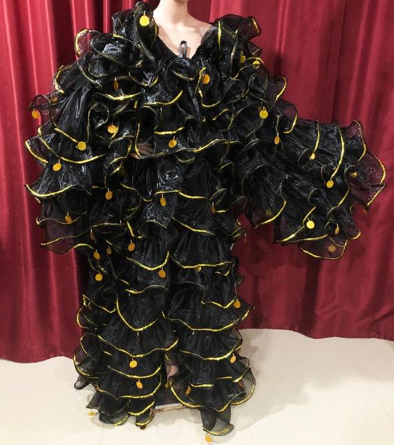 Da NeeNa C34 Gradation Pinky Organza  Gigantic Jumbo Sequin Ruffle Coat Jacket
