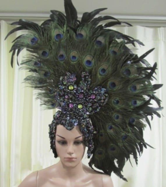 Da NeeNa H046 Cabaret Showgirl Ostrich Crystal Feather Headdress