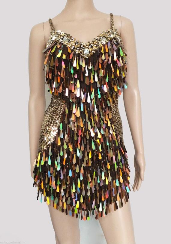 Custom BROWN LATIN SALSA VEGAS SHOWGIRL DANCE DRESS