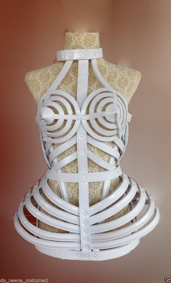DaNeeNa T029S Tribute Copy Cone Bra Pointy Cage Leather Madonna Costume XS-XL
