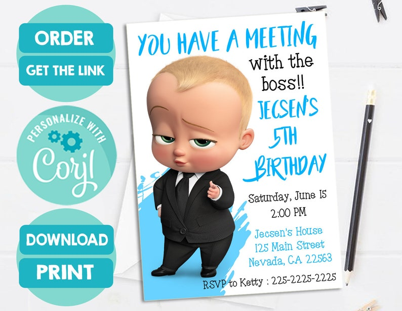 Baby Boss Invitation Baby Boss Movie Birthday Party Invite Personalized And Printable File I Customize You Print
