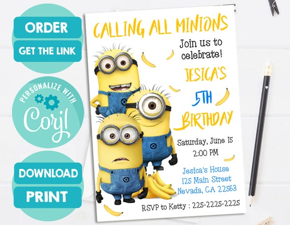 photo about Minions Invitations Printable named Minions Invitation, Minions Birthday Bash, Minion invitation, Bob, Stuart, Kevin, Despicable Me, Customized, Printable, Electronic Report