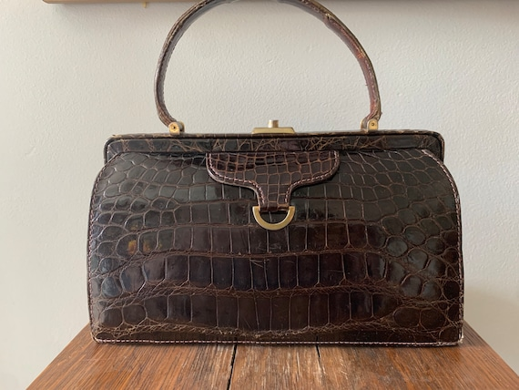 Vintage 1950s coblentz leather handbag satchel