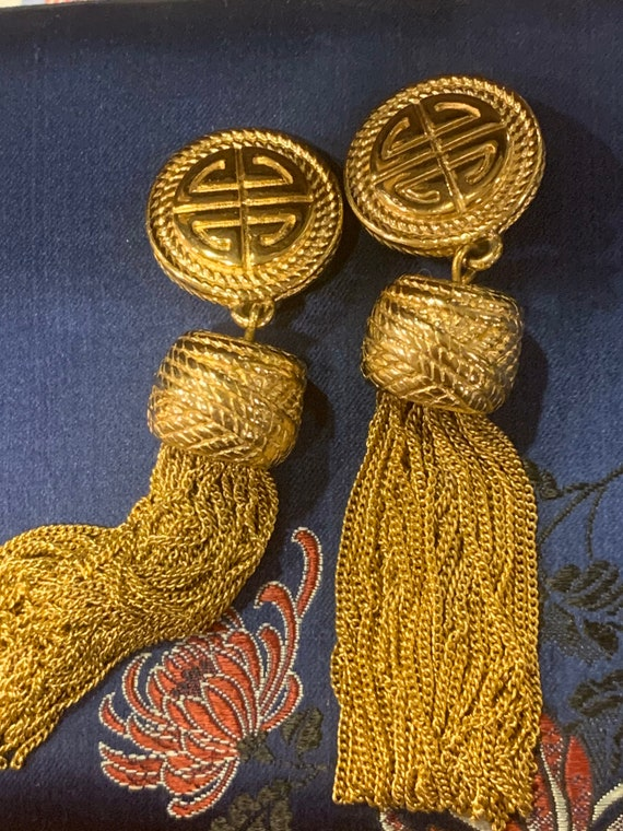 Gold Givenchy tassel clip on earrings