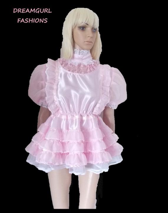 Unisex high neck ultra short party dress sissy cosplay lolita free panties