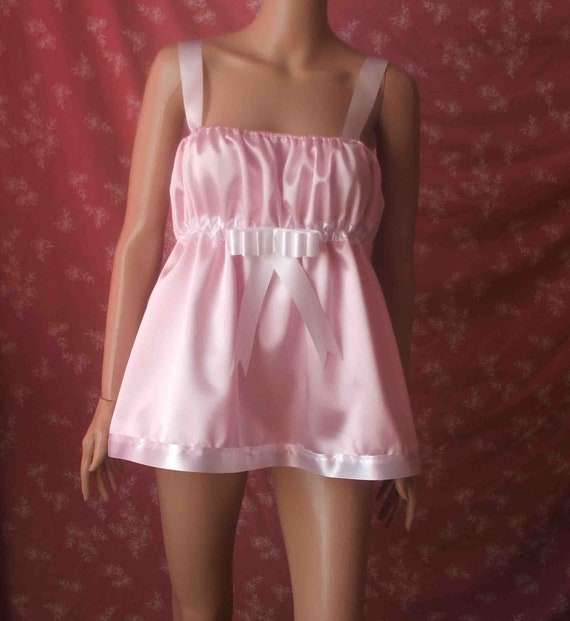 UNISEX SISSY SATIN AND LACE BABYDOLL SISSY LOLITA COSPLAY