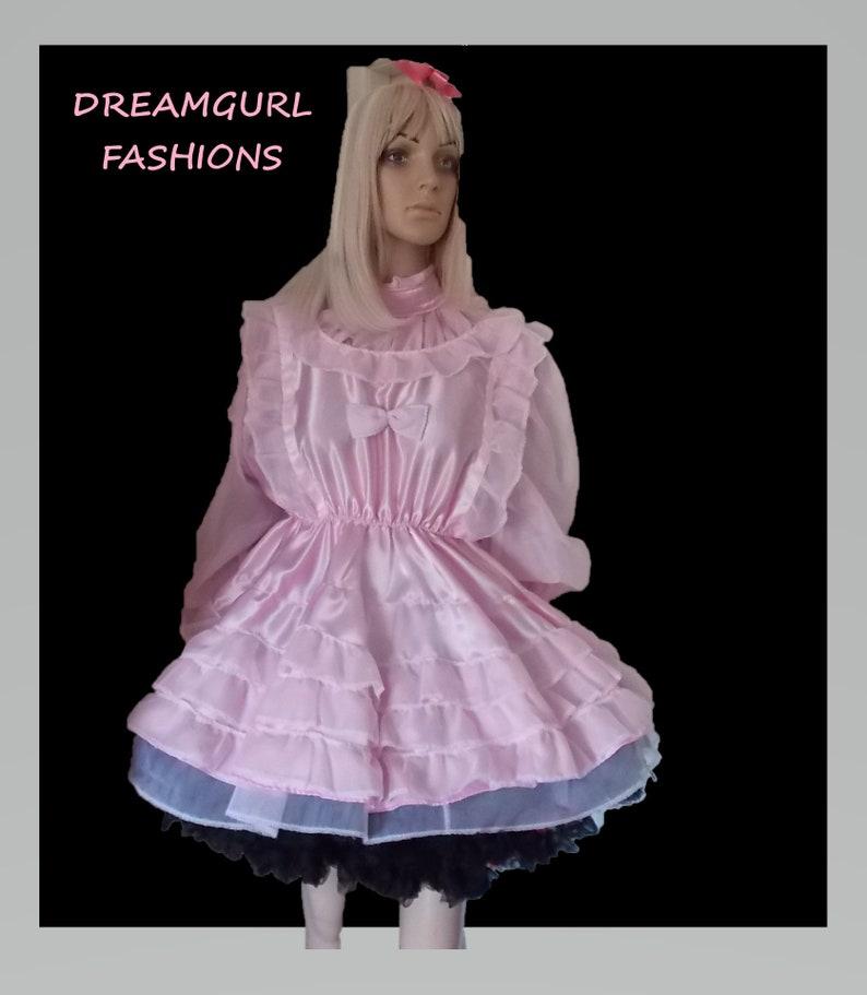 sissy short adult baby dress Fancy dress cosplay ruffle dress 2 row