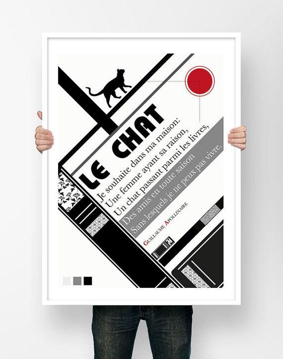 Affiche Poésie Guillaume Apollinaire Le Chat Poème Illustration Bauhaus Poster Art Littéraire