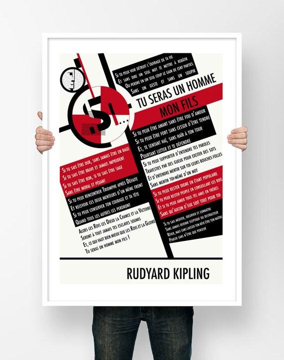 Affiche Illustration Poème Rudyard Kipling Si Tu Seras Un Homme Mon Fils Poster Si Poésie Art Ecrivain Littérature Bauhaus Décoration