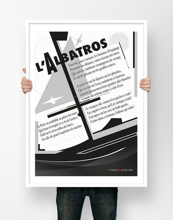 Charles Baudelaire Lalbatros Illustration Poésie Affiche Poème Poster Littéraire