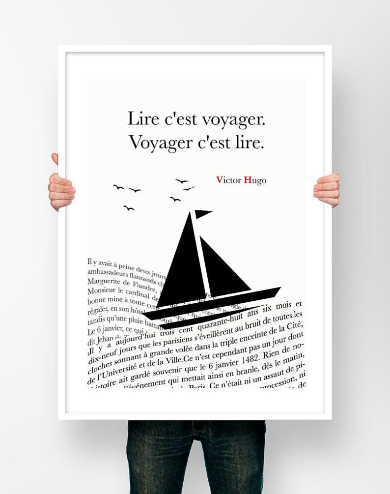 Is Traveling Travel Poster Quote Victor Hugo Read Read Literary Poster Literature Writer