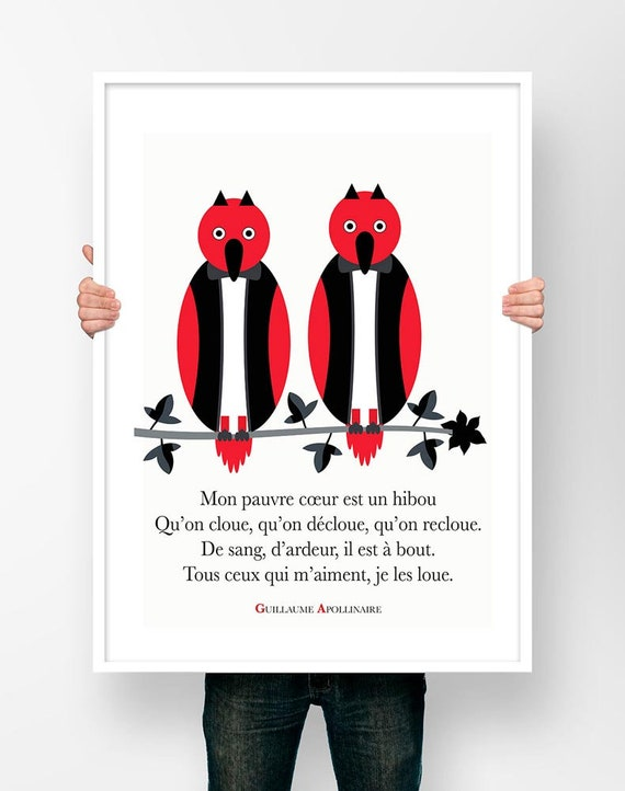 Poster Poetry Guillaume Apollinaire My Poor Heart Is An Owl Poem Illustration Poster Literary Art
