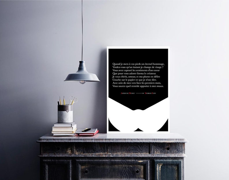 Poster Citation Letter Musset to Georges Sand Literary Poster Literature Writer Decoration