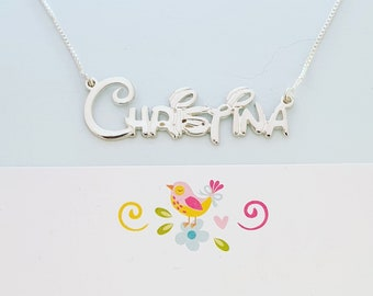 7348e1f82 Christina Style Name Necklace / Silver ANY Name necklace / Disney  collectible style
