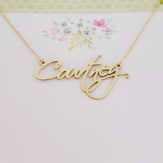 Solid Yellow Gold Personalized Name Necklace Carrie Style 14k Double Thickness