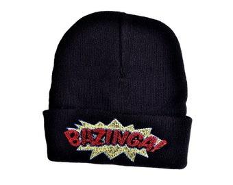 414e48c3f60 Bazinga Custom Embroidered Beanie Hat   Black Winter Fleece Beanie Unisex  Woman Man Beanie