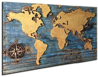 World map plank | Etsy