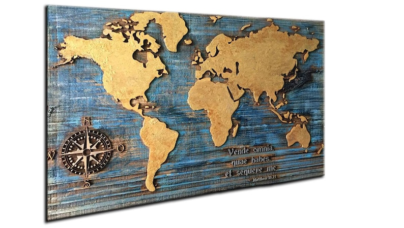 World Map Wall Art Wood Custom Engraved Wood Carved Wood Wall | Etsy