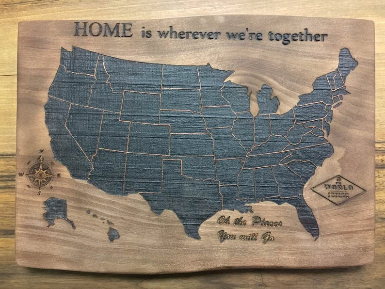 Wooden Usa Map Laser Engraved Wall Art Wood Burning Map Usa Map Scorched On Wood Wall Art Natural Wood Custom Wood Signs Personalized Map