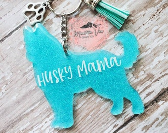 PENQI Husky Keychain Husky Jewelry Best Husky Mom Ever Keychain Dog Mom Ever Gift Dog Lover Dogs Jewelry for Husky Lover