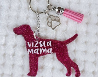 Vizsla Gifts Vizsla Mama Gifts Customizable Vizsla Glitter Keychain Personalized Vizsla Keychain Vizsla Lover Vizsla Mama Keychain