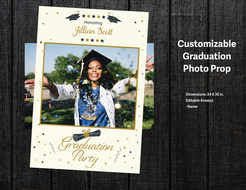 Graduation Invitation Customizable Invitation Party Supply Photo Prop Bundle Digital Instant Download Editable Poster Poster