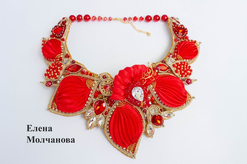 Necklace Shibori Soutache Collar Jewelry With Crystals In Red Color