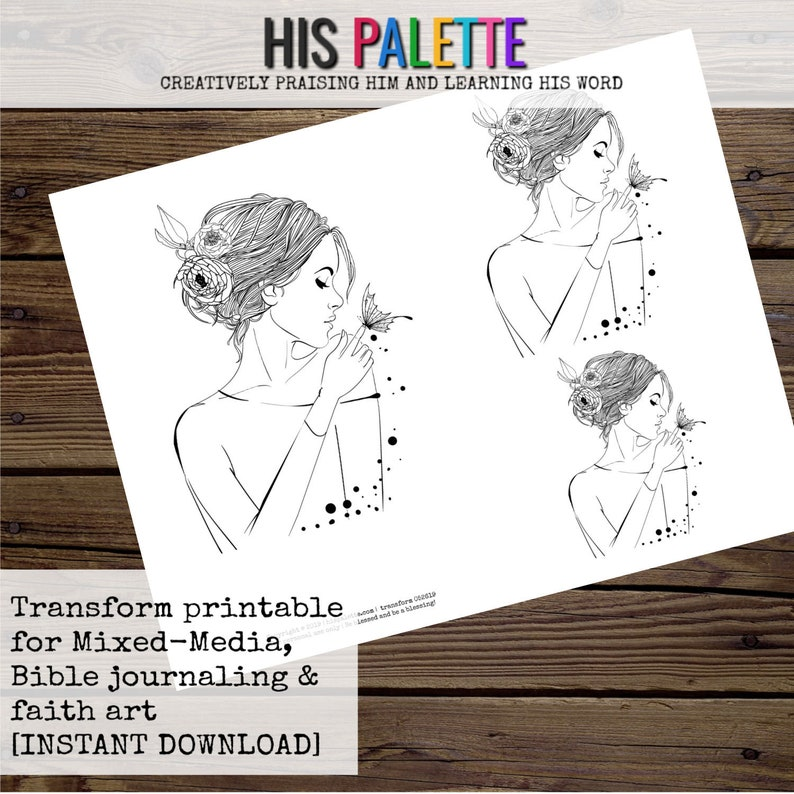 Bible Journaling and Faith Art Transform Printable for Mixed-Media His Palette
