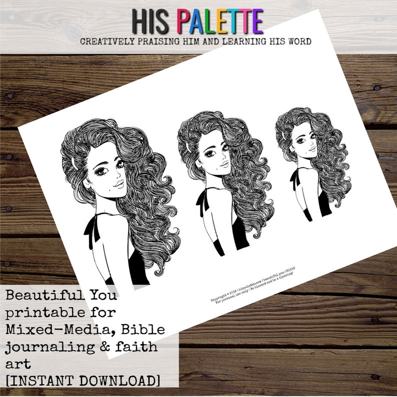 Beautiful You Printable for Mixed-Media Bible Journaling and Faith Art His Palette