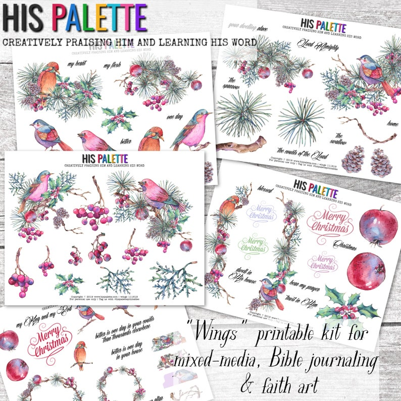 His Palette  Wings Printable Kit for Mixed-Media image 0