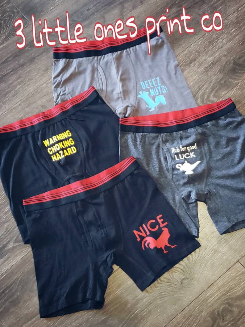 4 pack of Mens naughty quirky quotes boxer briefs.