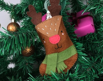 Sew Your Own Rufus the Reindeer stocking Felt Sewing Kit, kids stocking pattern, stocking sewing pattern, festive craft kit, festive crafts