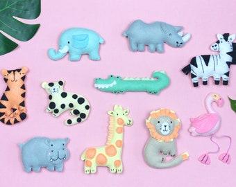 Sew Your Own set of 10 Jungle Friends - Lion, tiger, leopard, hippo, rhino, crocodile, zebra, flamingo, giraffe, elephant, diy sewing kit