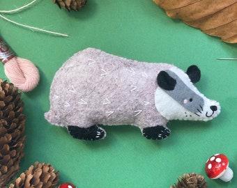 Basil the Badger DIY Felt Sewing Kit, badger feltie, felt woodland creatures, felt woodland animals, woodland christmas ornaments, forest