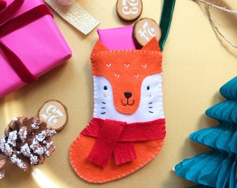 Sew Your Own Felix the Fox Felt Stocking, DIY craft kit, felt sewing patterns, festive felt decorations, festive sewing patterns, woodland