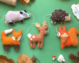 Sew Your Own Woodland Friends Garland Felt Sewing Kit, woodland animal embroidery kit, woodland animal felties, felt forest animals, deer