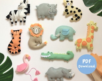 PDF Instructions for 10 Felt Jungle Friends, felt plush sewing pattern, nursery sewing patterns, jungle animals for nursery, safari mobile