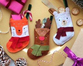 Sew Your Own Felt Stocking Set, christmas stockings, christmas stocking craft kit, stocking embroidery kit, stocking diy, stockings for tree